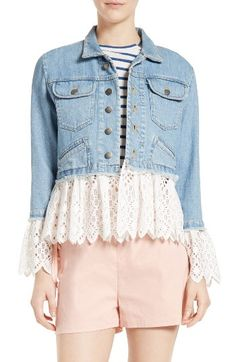 Free shipping and returns on Sea Eyelet Hem Denim Jacket at Nordstrom.com. That most perfect of all springtime layers—the denim jacket—gets a pretty and playful update thanks to a laced-up back and panels of ruffled cotton eyelets at the cuffs and cropped hem.