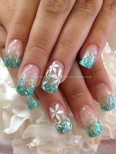 Acrylic Nail Art Galleries Beautiful Eye Candy Nails & Training Teal Glitter Fade In Acrylic Great Nails, Fabulous Nails, Gorgeous Nails, Cute Nails, My Nails, Nail Art Designs, Fingernail Designs, Acrylic Nail Designs, Flower Nail Art
