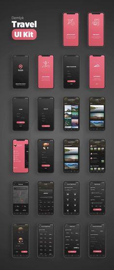 Demlyk travel ios ui kit - ui kits on app development, ios app, android Web And App Design, Ios App Design, Mobile App Design, Mobile Ui, User Interface Design, Desing App, Interface App, Android App Design, App Design Inspiration