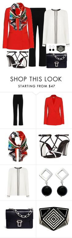 """""""Versace Greek Key Scarf Look"""" by romaboots-1 ❤ liked on Polyvore featuring Theory, Emilio Pucci, Versace, Oscar de la Renta, Warehouse, NOVICA, Proenza Schouler and Chanel"""