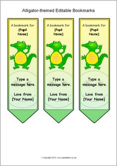 Alligator-themed editable bookmarks (SB9900) - SparkleBox