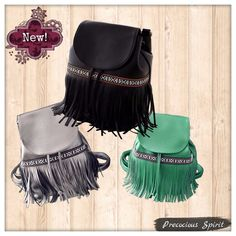 Festival Faux Leather tassel rucksack backpack New! Features: Festival Faux PU Leather tassel fringe rucksack mini backpack purse bag. Vegan friendly PU leather! Drawstring and magnetic closures. Attachable shoulder straps. In 3 colors: Black, Silver, Green. Unbranded Bags