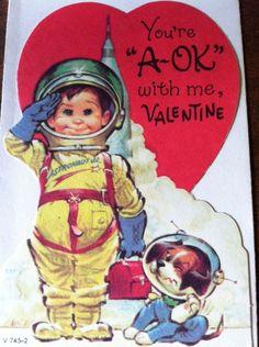 Vintage Valentine Card Cute Boy Astronaut Puppy Space Ship Unsigned W Envelope