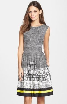 Free shipping and returns on Ellen Tracy Border Print Twill Fit & Flare Dress at Nordstrom.com. A screenprinted cityscape underscored by one lemony stripe injects artistic energy into this figure-flattering day dress that's slightly pleated for fullness.