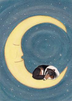 Tricolor shetland sheepdog sheltie sleeping on door watercolorqueen, $12.99