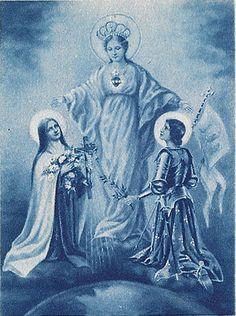 """Ste Thérèse et Ste Jeanne d'Arc sous la mante de la Vierge Marie The Dove and Rose (St. Joan and St. Thérèse) """"Like"""" The Dove and Rose at: https://www.facebook.com/doveandrose Visit my blog at: http://joanandtherese.net/"""