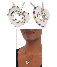 Crystal Heart & Puzzle Piece Necklace Every Purchase Funds Research and Therapy to Help Children with Autism.