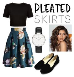 """""""Untitled #7"""" by jaidaulloa ❤ liked on Polyvore featuring Chicwish, Ted Baker, Daniel Wellington, Coleman and pleatedskirts"""