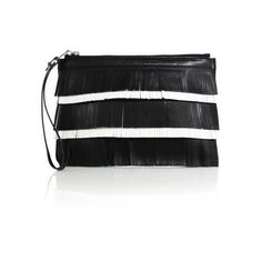 Proenza Schouler Two-Tone Leather Fringe Small Pouch ($490) ❤ liked on Polyvore featuring bags, handbags, clutches, leather zip pouch, genuine leather handbags, leather fringe handbags, leather purses and fringe handbags