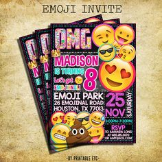 Emoji Birthday Invitation  Emoji Icons Chalkboard by PrintableETC