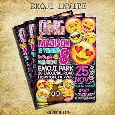Emoji Birthday Invitation  Emoji Icons Chalkboard by PrintableETC