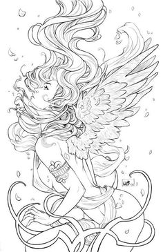 Of Angels by `ToolKitten on deviantART Make your world more colorful with free printable coloring pages from italks. Our free coloring pages for adults and kids. Fairy Coloring Pages, Adult Coloring Book Pages, Coloring Books, Tattoo Coloring Book, Fantasy Kunst, Fantasy Art, Colorful Pictures, Line Art, Art Drawings