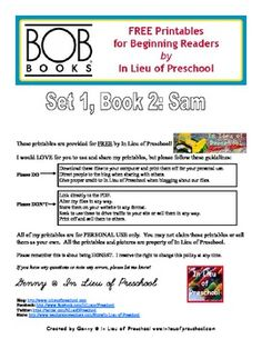 BOB Books Printables for Beginning Readers: Set 1, Book 2