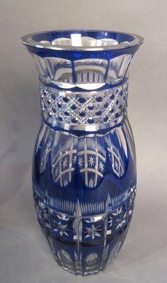 Colbalt Bohemian Cut to Clear Glass Vase