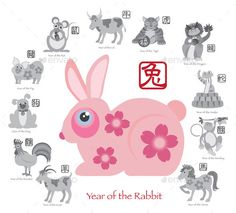 Chinese New Year Rabbit Color with Twelve Zodiacs Illustration by jpldesigns. Chinese New Year of the Rabbit Color with Twelve Zodiacs with Chinese Symbol for Rat Ox Tiger Dragon Rabbit Snake Mon...