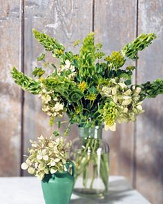 Green Flower Arrangement  This small vase holds a bouquet of green hydrangeas; behind it is a mix of euphorbias, hydrangeas, and bells of Ireland