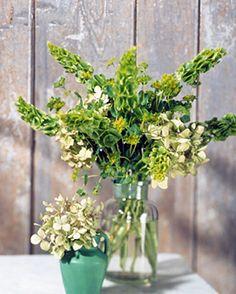 green flower arrangements.