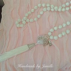 White Long Strand Beads With A Soft Pink & White Tassel Necklace Handmade ON SALE