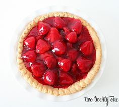 Strawberry pie buy pre made crust strawberrys and strawberry glaze then wash and cut the strawberrys in half and fill the pan with the strawberrys then put the glaze on top after that refrigerate for about 30min then add whipped cream and youll be done