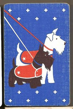 Vintage 1939 Full DECK  Dogs Fifth Avenue Playing  Trading Cards. Me & my Scottish cousin.