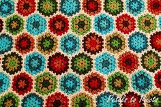 pretty vintage style hexagon join-as-you-go blanket pattern