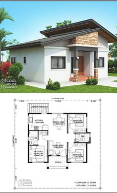 Small House Floor Plans, Simple House Plans, Simple House Design, Cool House Designs, Modern House Design, 3 Bedroom Home Floor Plans, House Plans 3 Bedroom, Home Design Floor Plans, New House Plans