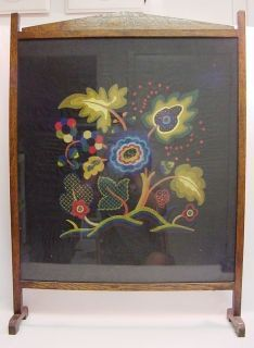 Antique Victorian Fireplace Screen | Antique Victorian Wooden Fireplace Cover Screen w/ Floral Embroidery