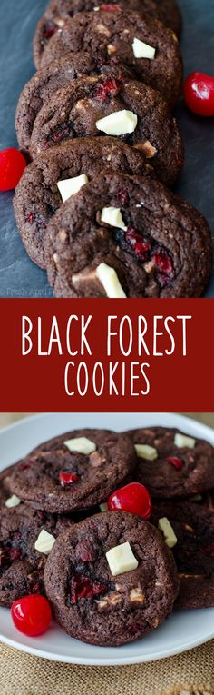 Black Forest Cookies: Soft and chewy chocolate cookies filled with creamy white chocolate chunks and sweet maraschino cherry pieces.  via @frshaprilflours