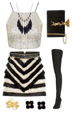 """Black and Gold Party Outfit"" by rileyadewitt on Polyvore featuring Balmain, Maison Margiela, Carelle, Yves Saint Laurent, Tory Burch, Topshop, women's clothing, women, female and woman"