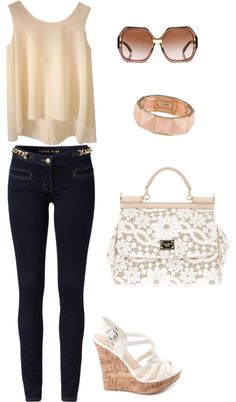 """Classy Neutral Spring outfit!"" by keraashley on Polyvore. I would wear this with a tan leather jacket and some combat boots"