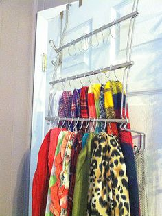 Nice Scarf Holder From Towel Rack And Curtain Clips