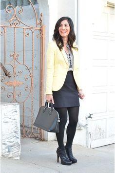 yellow Zara blazer - black leather Louis Vuitton bag - polka dot Zara blouse