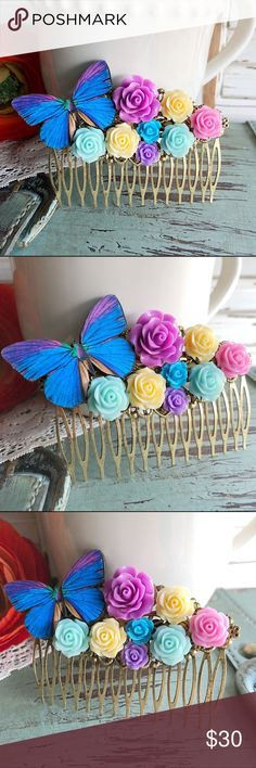 "Butterfly & Pastel Roses Hair CombShabby Chic This gorgeous hair comb is handmade. Hair combs can be worn for many occasions. Weddings, parties, photo shoots, a fancy night on the town or even a casual day out. Comb is made from antiqued filigree brass. Measurements are 3 1/2"" wide X 2 1/4"" tall. Made with a rich blue & purple butterfly, and several pastel colored roses. Lavender, cream, light blue, etc. Great for spring and summer..or anytime of year! Handmade by me & brand new. Bundle…"