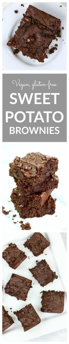 Vegan Sweet Potato Brownies - a healthy Valentine's Day recipe! These fudgey brownies are gluten-free, grain-free and vegan. Made with sweet potatoes and almond butter and full of tasty chocolate flavor!