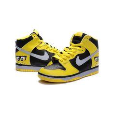 premium selection 81991 3afb1 Spongebob Nike Dunk Cartoon High Tops Shoes Yellow Black via Polyvore  Original Air Jordans, Custom