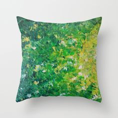 LAKE+GRASS+-+Original+Acrylic+Abstract+Painting+Lake+Seaweed+Hunter+Forest+Kelly+Green+Water+Lovely+Throw+Pillow+by+EbiEmporium+-+$20.00