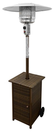 """TFPS Patio Heaters 87"""" Tall Outdoor Square Resin Wicker Patio Heater with Table- TFPS-HLDS01-WHSQ Propane Patio Heater, Outdoor Heaters, Patio Grande, Cool Fire Pits, Adjustable Table, Fire Pit Table, Cool House Designs, Wicker, Link"""
