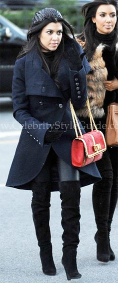 Seen on Celebrity Style Guide: Kourtney Kardashian with her sister Kim Kardashian in New York City October 29, 2010