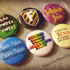 "Six a very ""wizard"" musical 1"" pinback buttons- avpm"
