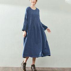 Autumn Retro Loose Long Sleeve Cotton Linen Blue Dress