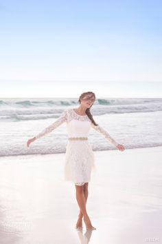 bhldn summer 2015 cynthia long sleeve lace pretty short wedding dress encore watters #weddingdress #shortweddingdress #weddings