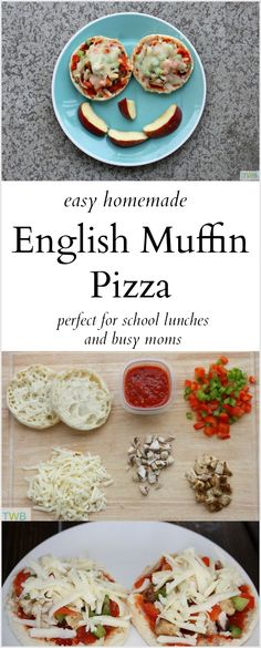 Easy English Muffin Pizza recipe -- a quick and easy idea for school lunches or for busy summer days with kids at home! - April 27 2019 at Easy Lunches For Kids, Snacks For Work, Lunch Snacks, Kids Meals, Healthy Snacks, Lunch Kids, Healthy Fruits, Healthy Kids, Breakfast