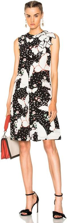 Valentino Butterfly Print Crepe de Chine Sleeveless Dress