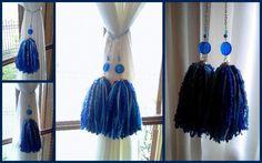 sujetadores para cortinas - borlas y colgantes decorativos | Belgrano | alaMaula | 109684882 Thread Crochet, Tassel Necklace, Tassels, Arts And Crafts, Ribbon, Diy, Chain, Beads, Home Decor