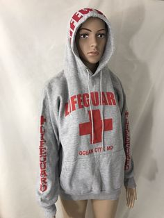Adult Gray Lifeguard Products Ocean City MD Beach Pullover Hoodie Size Medium  | eBay