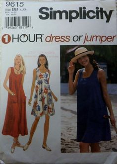 SIMPLICITY Pattern 9615 Summer Dresses Size BB L, XL  one hour Dress or jumper #Simplicity