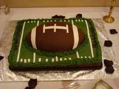 Football on field cake for game day.