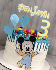 Bolo Mickey Baby, Mickey Birthday Cakes, Festa Mickey Baby, Baby Boy Birthday Cake, 25th Birthday Cakes, Mickey Mouse Birthday Cake, Mickey Cakes, Baby Boy Cakes, Minnie Mouse