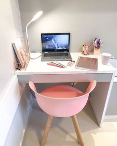 Home Design Decor, Home Office Design, Home Office Decor, Study Room Decor, Room Decor Bedroom, Bedroom Decor For Teen Girls, Kawaii Room, Home Office Space, Home Decor Furniture