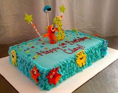 If it's a boy.  Cute monster baby shower cake I think.